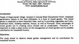 2010_Mixed Garden Management And Its Contribution To Household Income Of Farmers In Hegarmanah Village, Sub-District Of Cicantayan, Sukabumi District