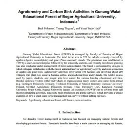 2011_Agroforestry and Carbon Sink Activities in Gunung Walat Educational Forest of Bogor Agricultural University, Indonesia